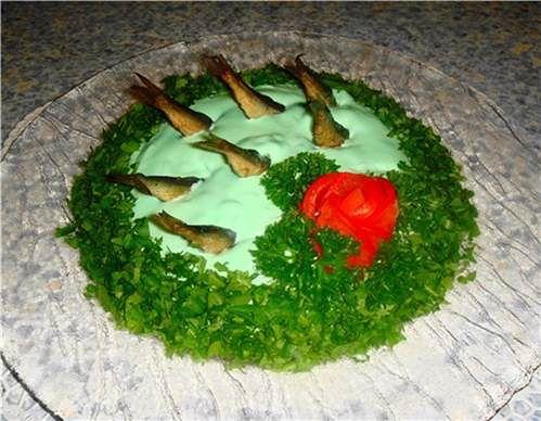 Салат из шпрот рецепт рыбки в пруду со шпротами рецепт 3